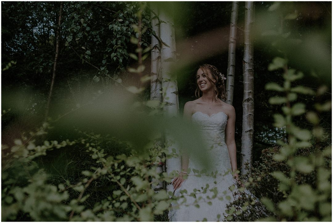 bride and trees