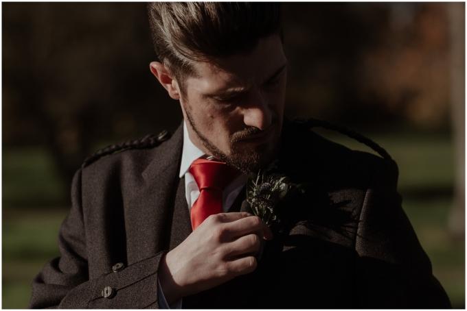 groom gets ready at scotland wedding