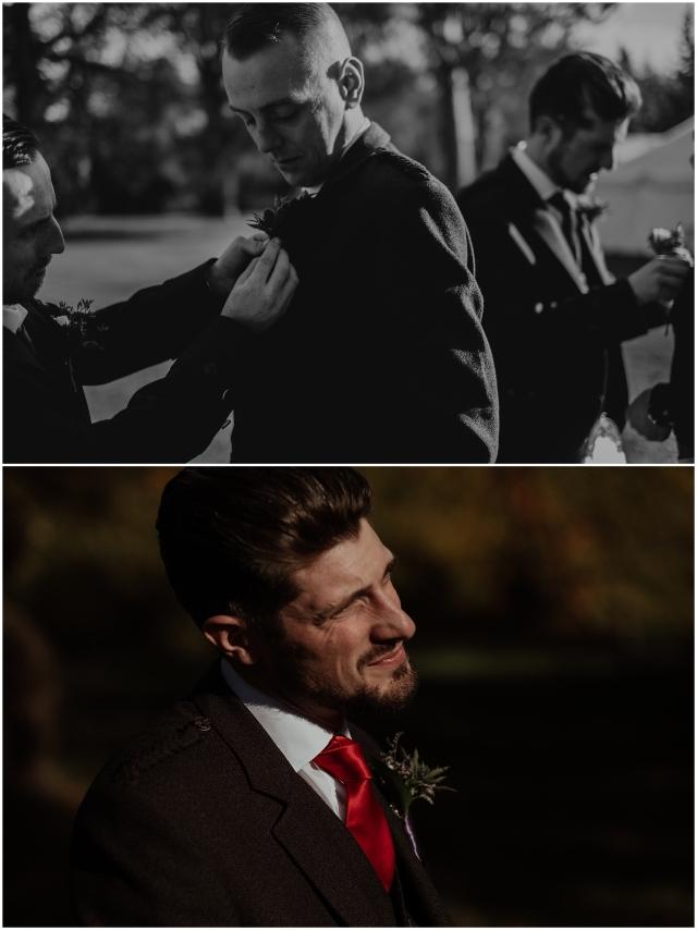 groomsmen get ready for scotland wedding