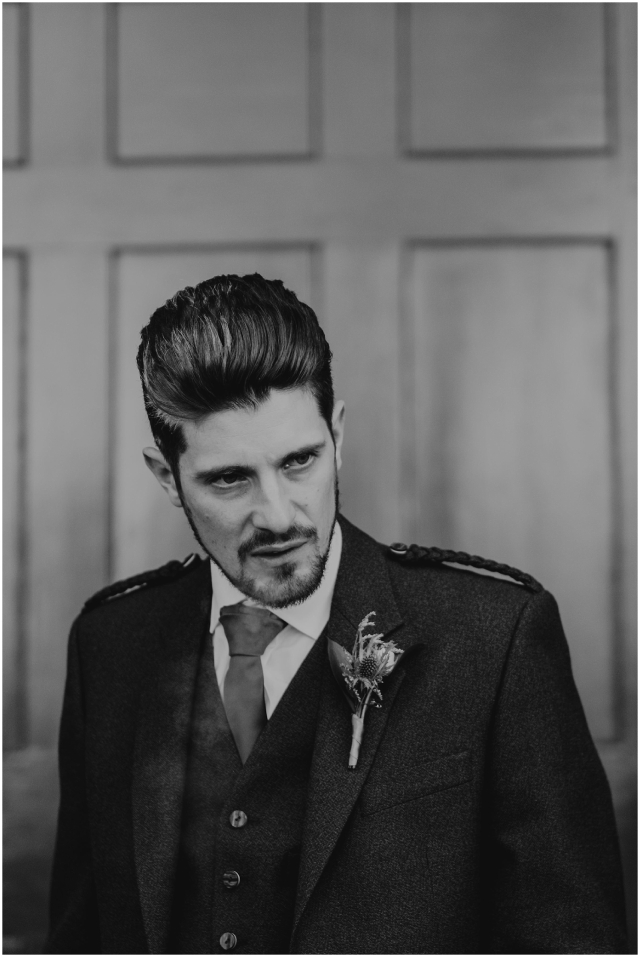 portrait of a groom at scottish wedding