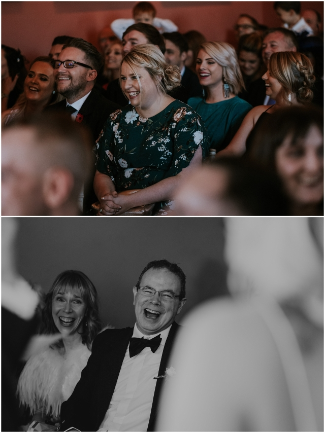 guests laughing at a scottish wedding