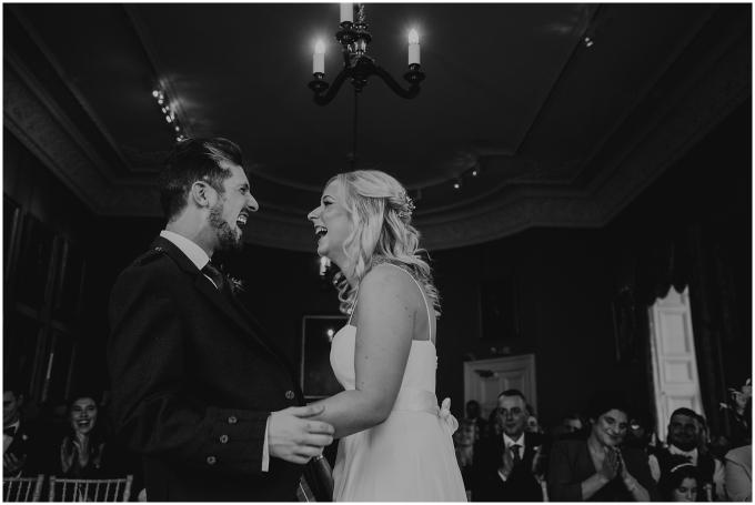 winton castle wedding near edinburgh bride and groom