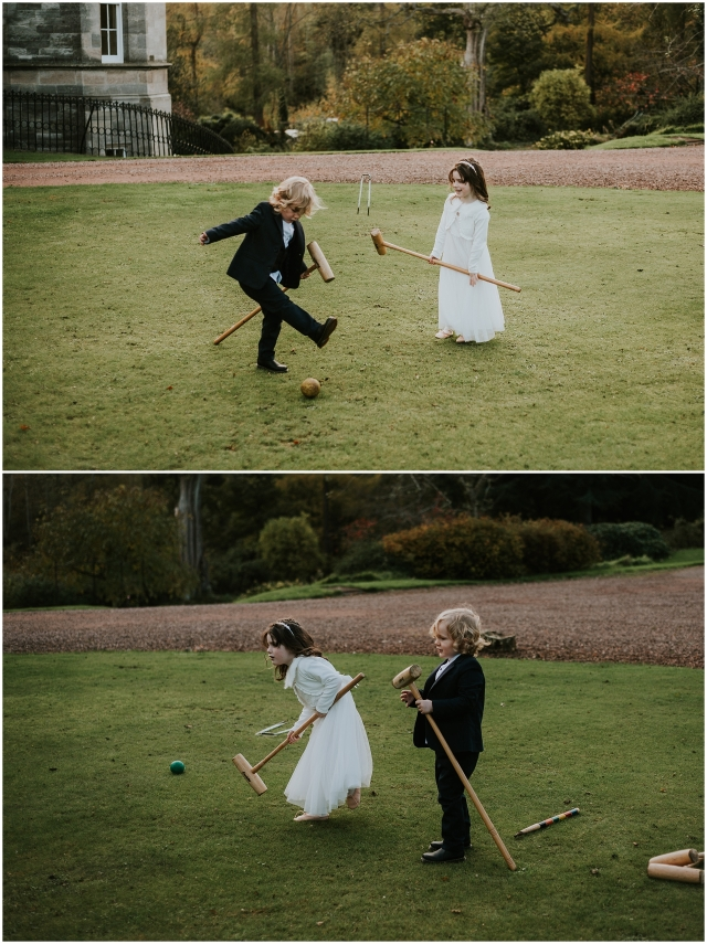 kids at wedding playing lawn games