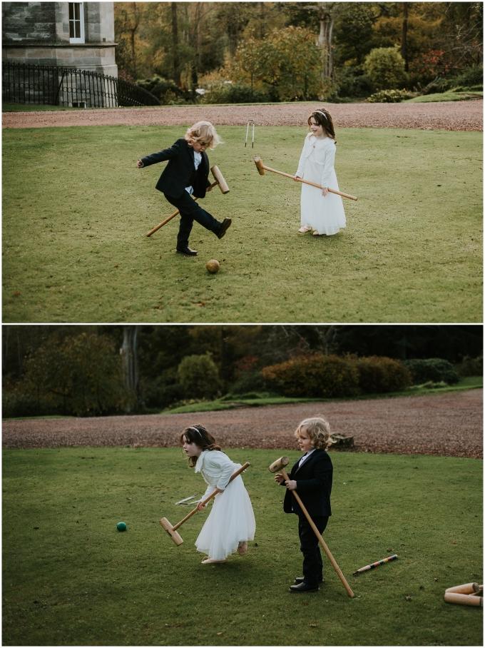 kids at wedding playing lawn games