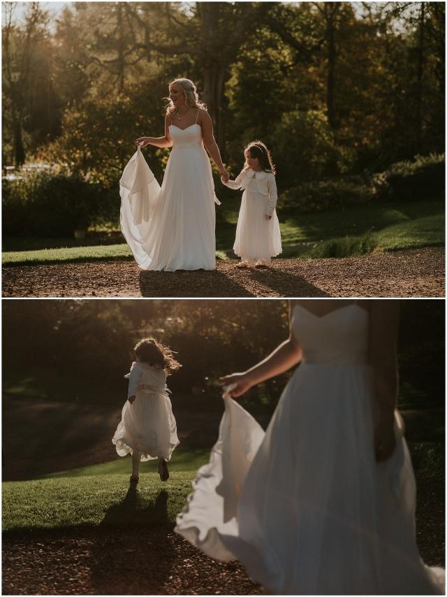 bride and flower girl at scottish wedding