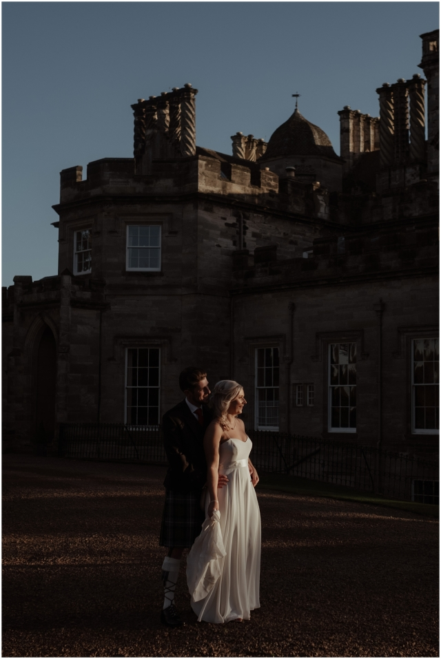 bride and groom at scottish castle wedding