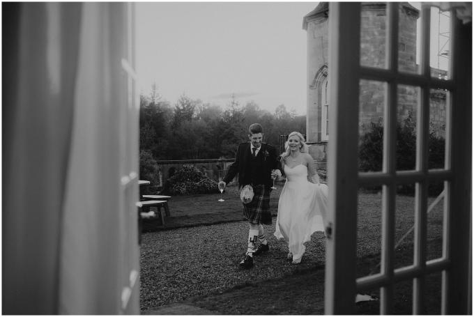 bride and groom at winton castle wedding