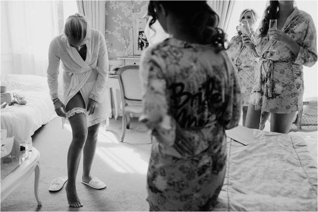 bridesmaids getting ready wedding in scotland