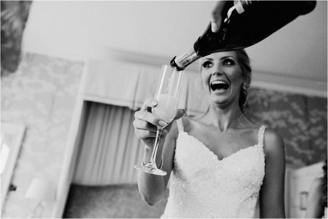 bride and champange