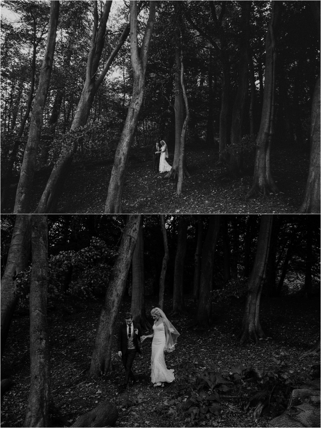 bride and groom in woodland near balbirnie