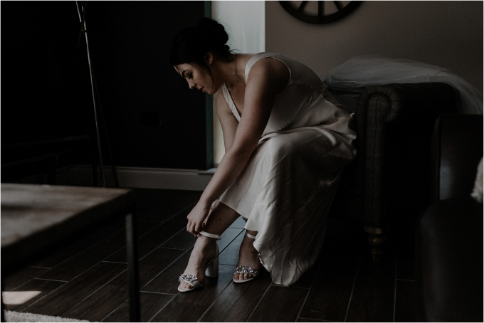 bride prepares during scottish elopement