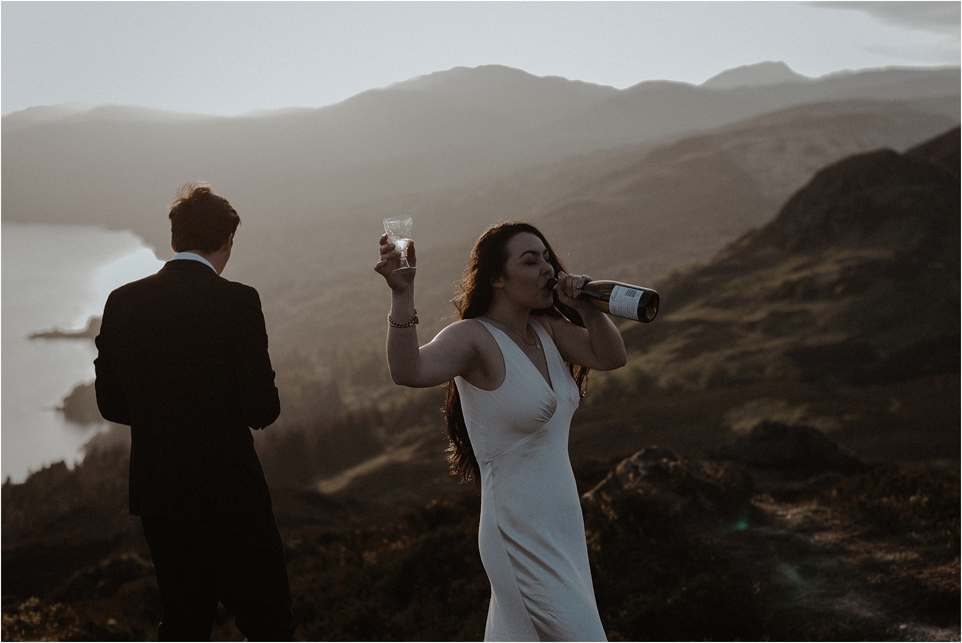 Elopement couple on scottish mountain