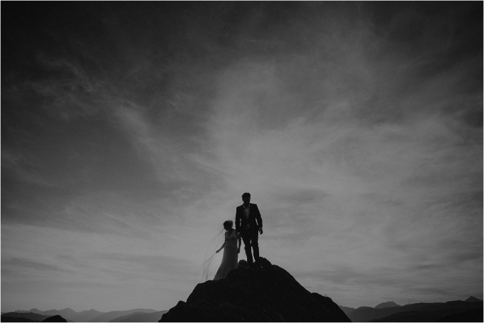 couple on mountain after their elopement in scotland