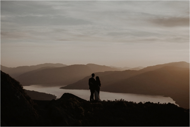 bride and groom in the sunset on a Scottish mountain elopement